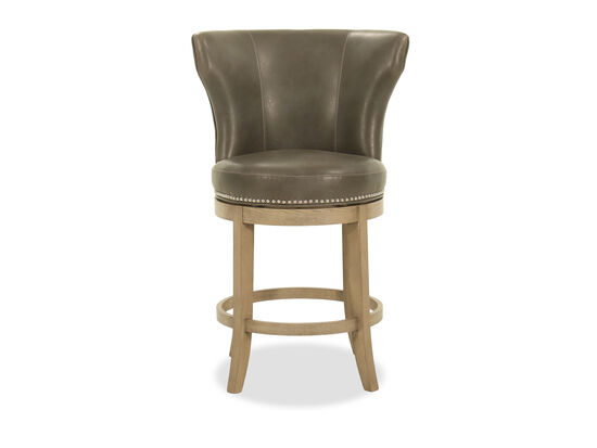 Nailhead-Trimmed Counter Stool in Gray