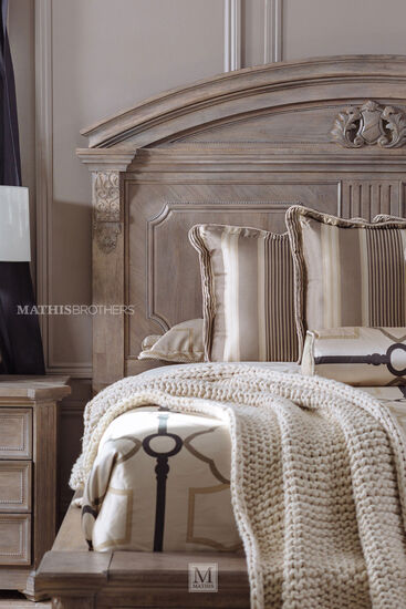 """76"""" Traditional Carved Queen Panel Bed in Parchment"""