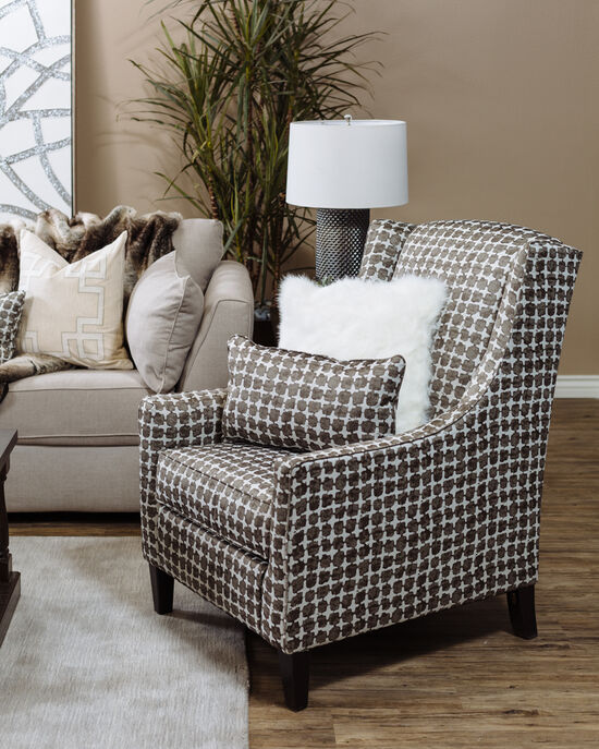 """Patterned Contemporary 30"""" Wingback Accent Chair"""
