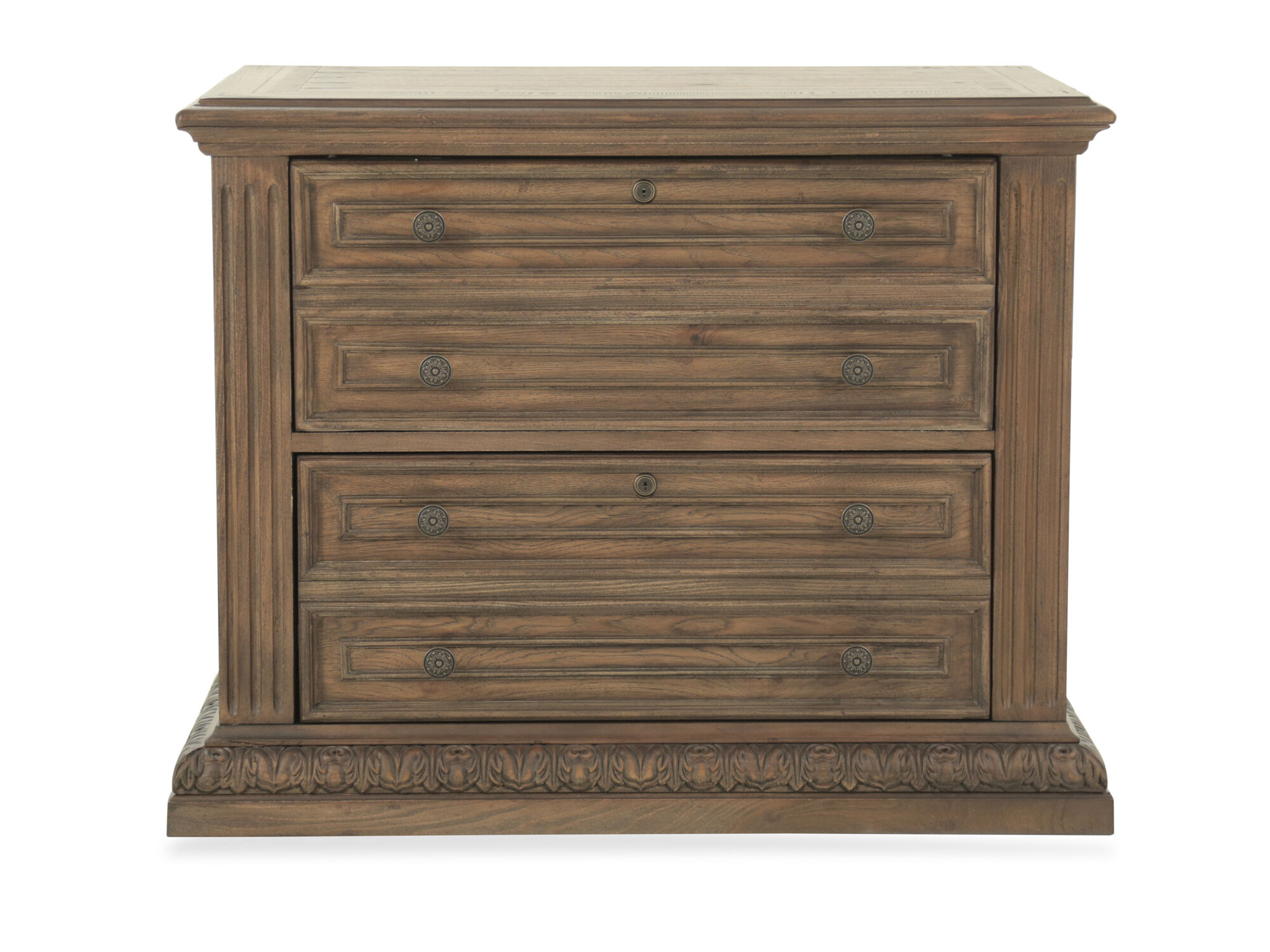 Two Drawer Traditional Lateral File Cabinet In Pecan