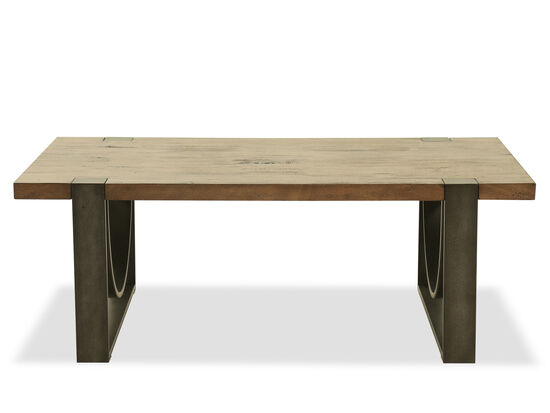 Contemporary Rectangular Cocktail Table in Rustic Honey