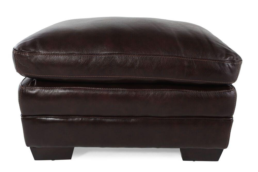 """Contemporary 31"""" Leather Ottoman in Espresso"""