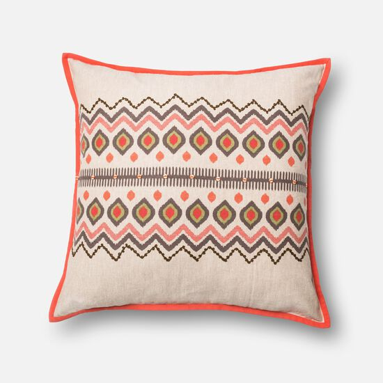 """Contemporary 22""""x22"""" Cover w/down pillow in Red/Natural"""