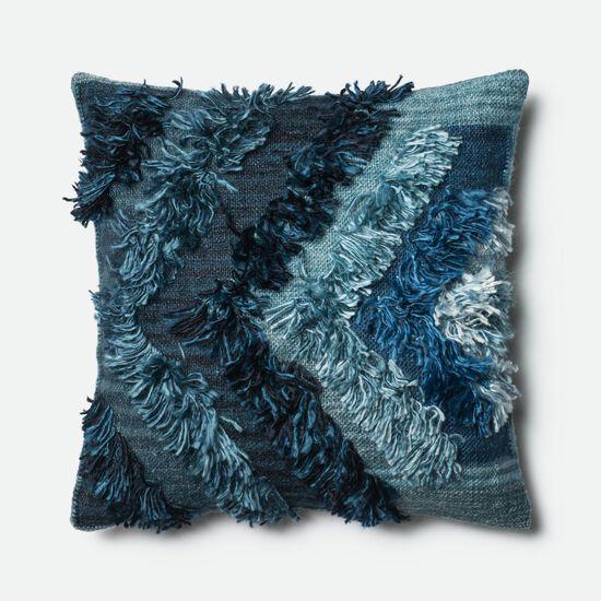 """Contemporary 22""""x22"""" Cover w/Poly Pillow in Indigo"""