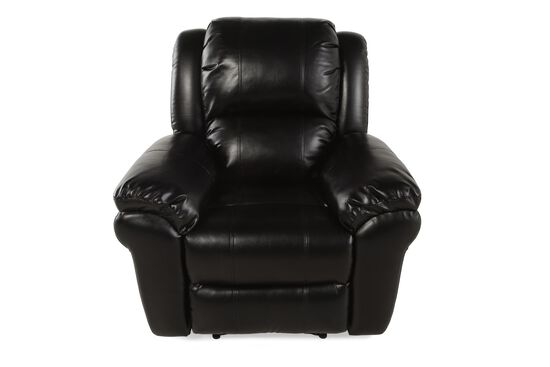 "Contemporary Leather 42"" Power Recliner in Black"
