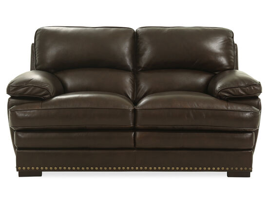 "Nailhead-Trimmed Leather 69"" Loveseat in Brown"