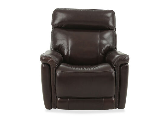 Leather 38'' Large Glider Power Recliner in Brown