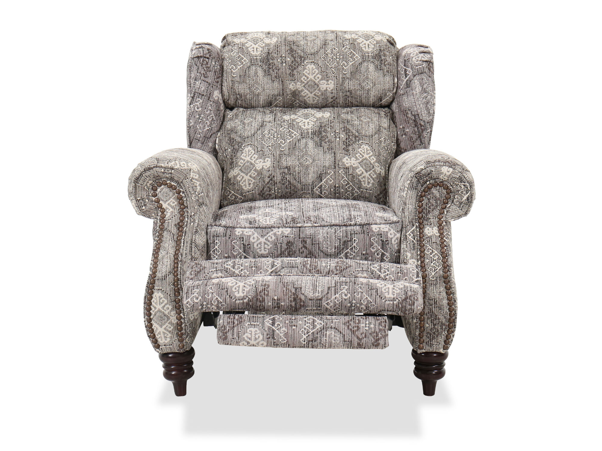 Nailhead Accented 39 Quot Pressback Recliner In Stone Mathis