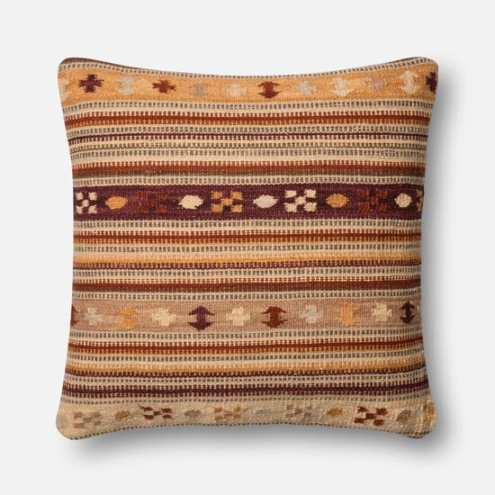 """Contemporary 22""""x22"""" Cover w/down pillow in Rust/Gold"""