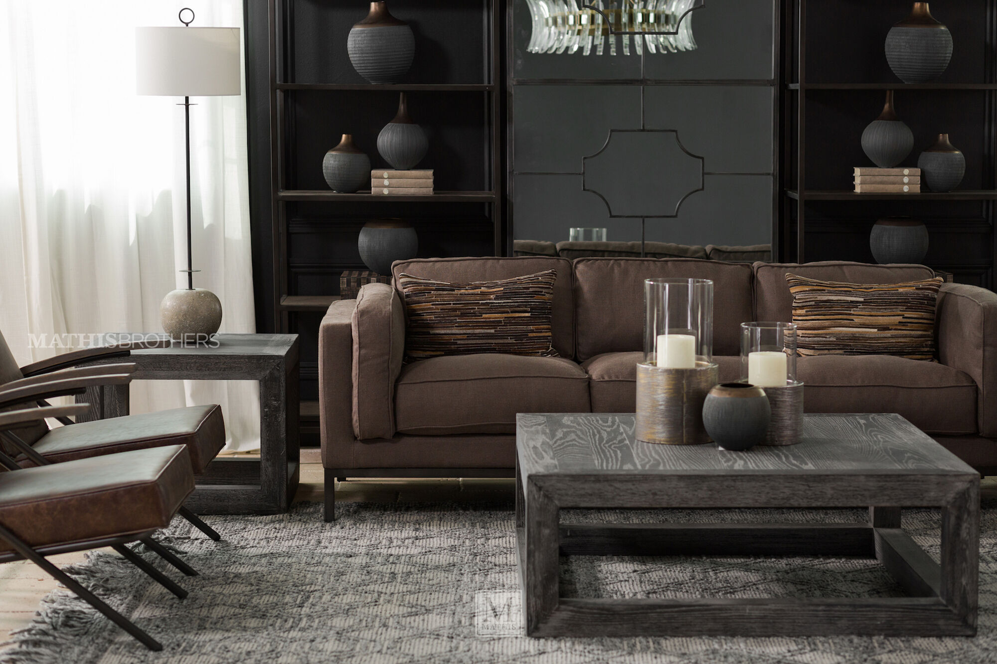enchanting low seating living room furniture | Low-Profile Three-Seater Sofa in Brown | Mathis Brothers ...