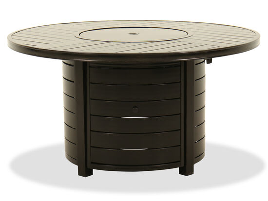 Round Aluminum Fire Pit Table in Dark Brown