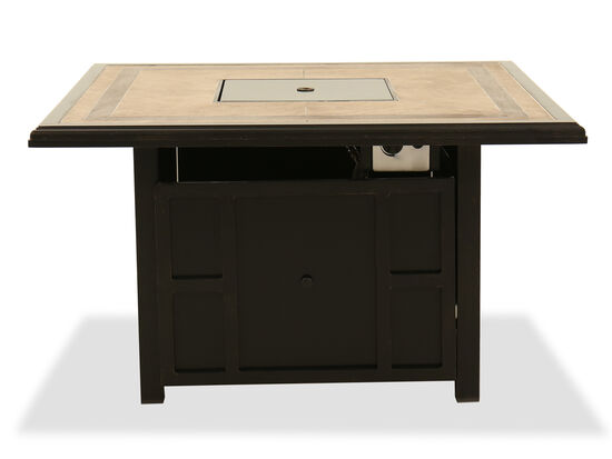 Contemporary Square Fire Pit Table in Brown