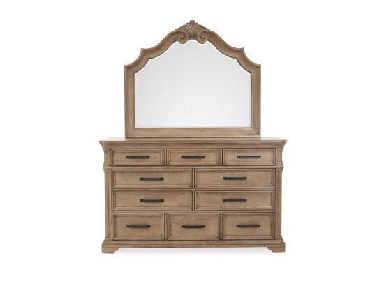 Two-Piece Transitional 10-Drawer Dresser & Mirror in Brown