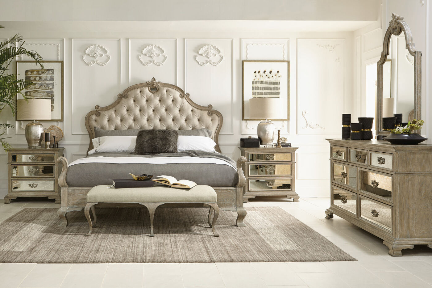 72 refined romantic button tufted panel bed in weathered for Bed in furniture