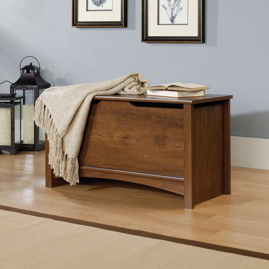 """19"""" Transitional Square Storage Chest in Oiled Oak"""