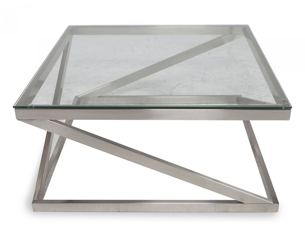 Glass-Top Contemporary Cocktail Tablein Nickel