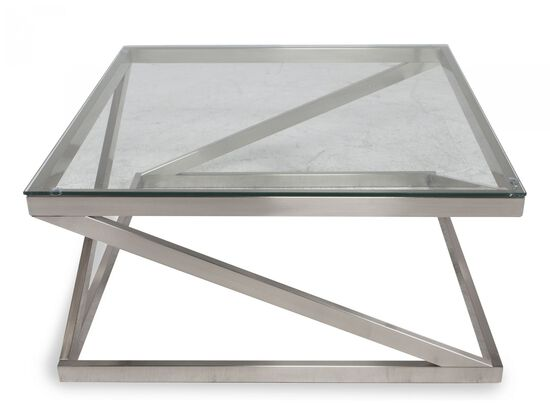 Glass-Top Contemporary Cocktail Table in Nickel