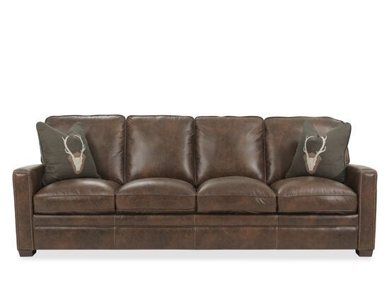 "Nailhead-Accented Leather 98"" Sofa in Brown"