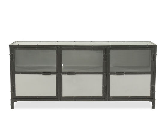 Glass Paneled Door Transitional Metal Console in Black