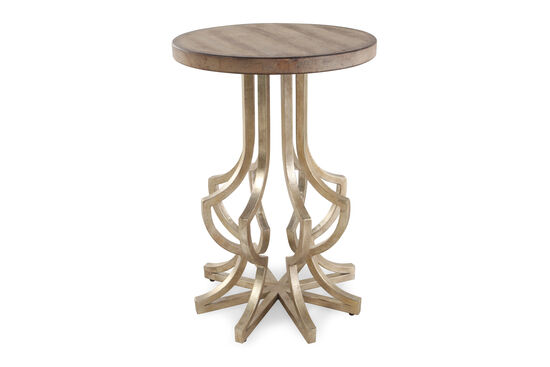 Solid Acacia Round Chairside Table in Gold