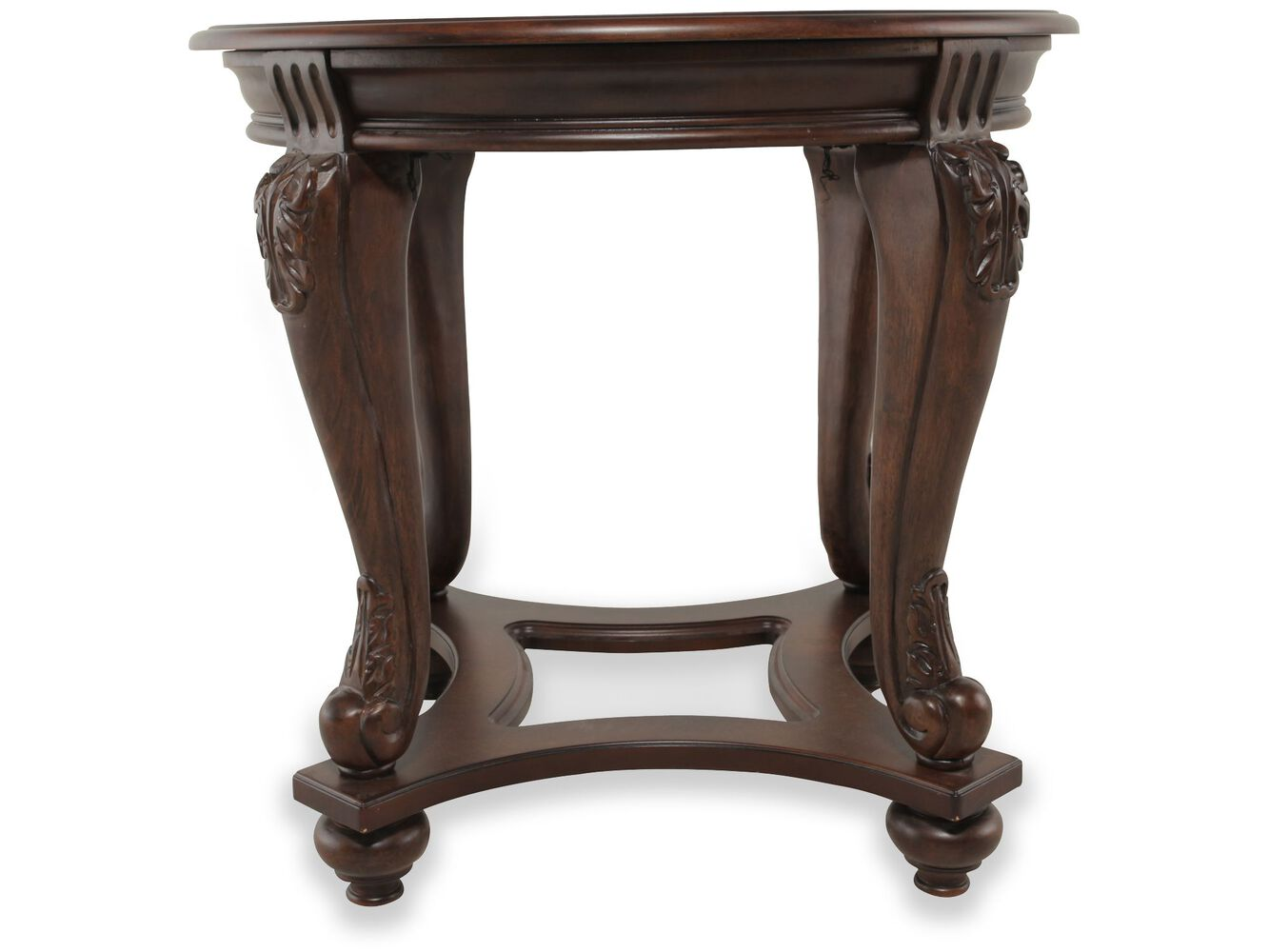 Round Beveled Glass Traditional End Table In Rich Brown