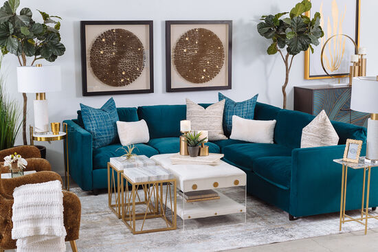 """Casual 106"""" Sectional in Blue"""