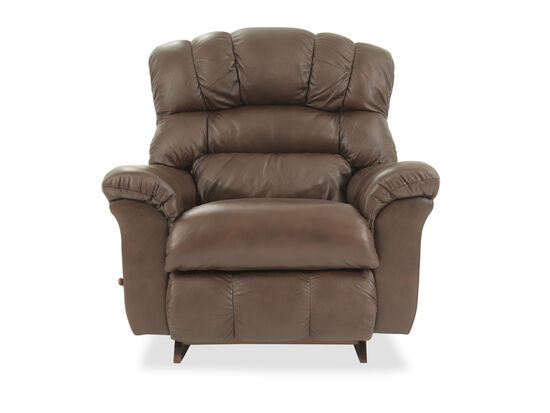 "Leather Padded 46"" Rocker Recliner in Brown"