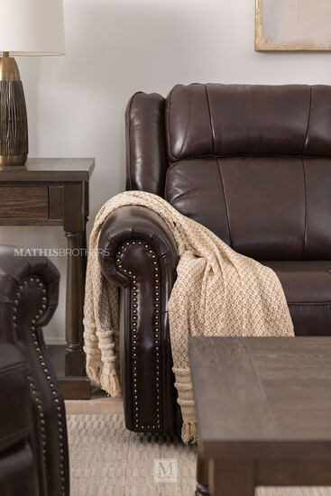 "Nailhead-Accented Leather 89"" Power Reclining Sofa in Brown"