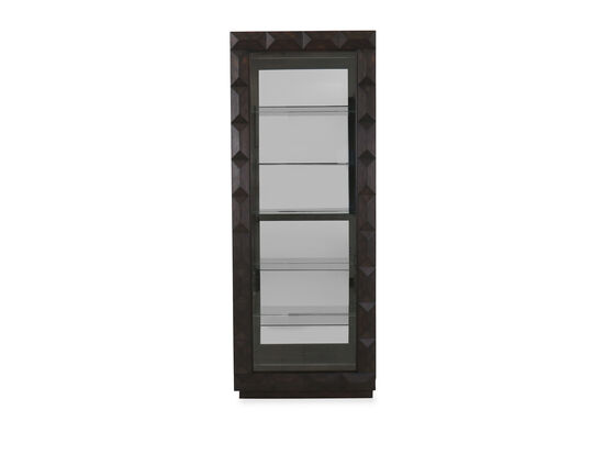 Sliding Door Transitional 80'' Curio Cabinet in Brown