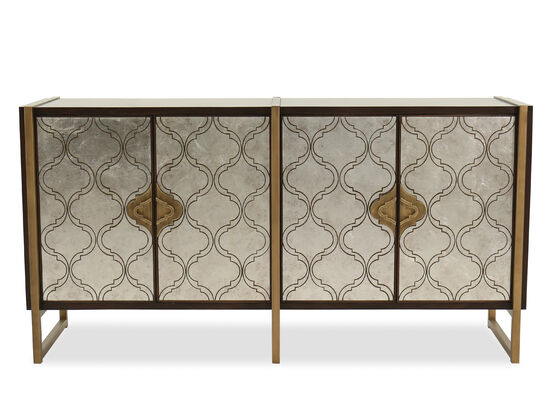 Traditional Four-Door Credenza in Dark Wood