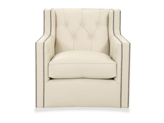 "Button-Tufted Leather 33.5"" Swivel Chair in Beige"