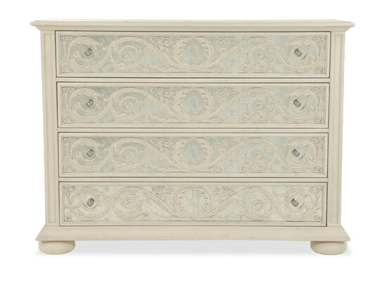 "42"" Traditional Mirrored Four-Drawer Media Chest in Weathered Sand"