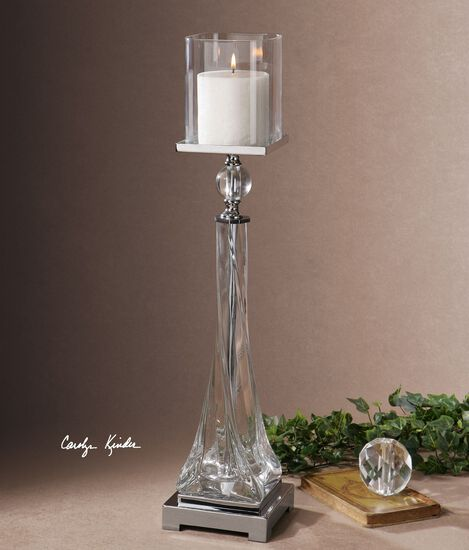 Twisted Glass Candle Holder in Polished Nickel