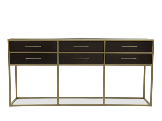 Six-Drawer Traditional Console in Brown