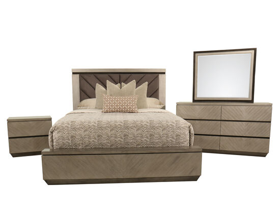 Four-Piece Casual King Bed Suite in Brown