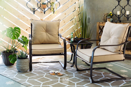 Three-Piece Casual Upholstered Bistro Set in Dark Brown