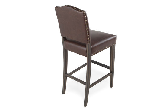 "Traditional 43"" Nailhead Accented Bar Stool in Dark Brown"