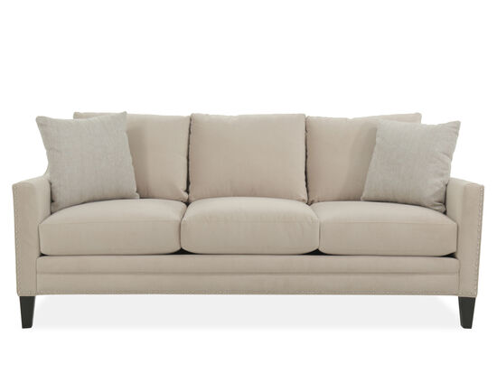 "Contemporary Nailhead-Accented 83"" Sofa in Beige"