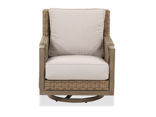 Patio Swivel Rocker Club Chair in Brown