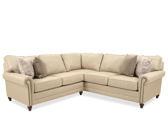 Two-Piece Contemporary Nailhead-Accented Sectional in Beige