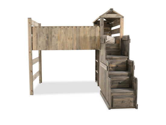 Country Youth Fort Bed with Staircase Chest in Driftwood