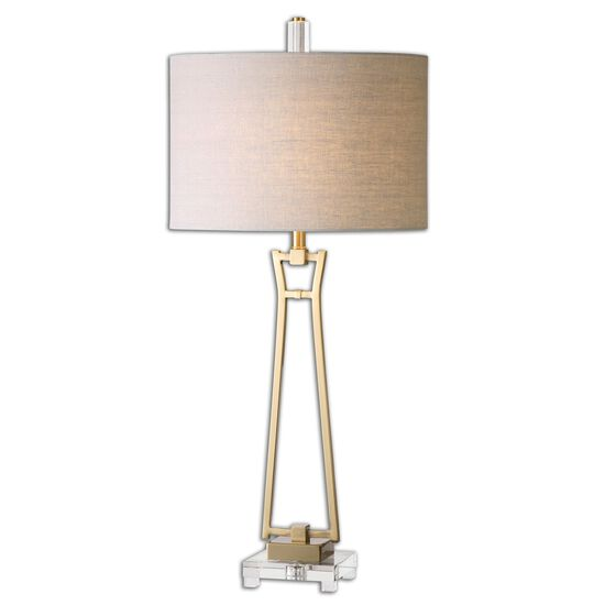 Open-Frame Drum Shade Table Lamp in Antique Gold