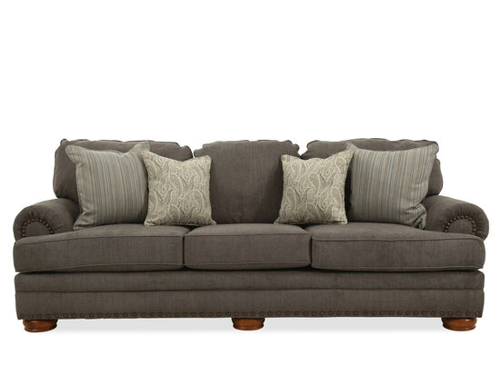 "Contemporary Nailhead-Accented 101"" Sofa in Gray"