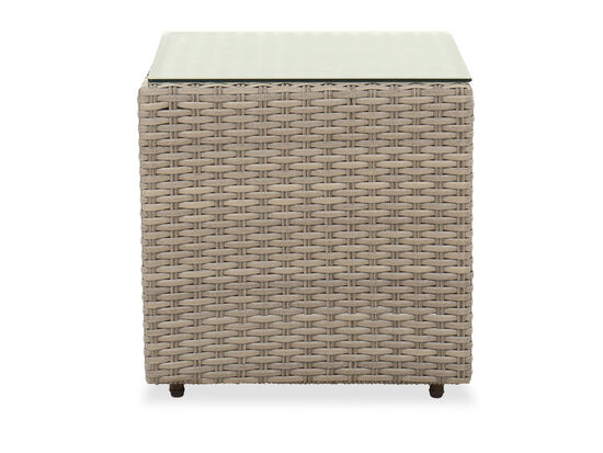 Contemporary Square Patio End Table in Light Gray