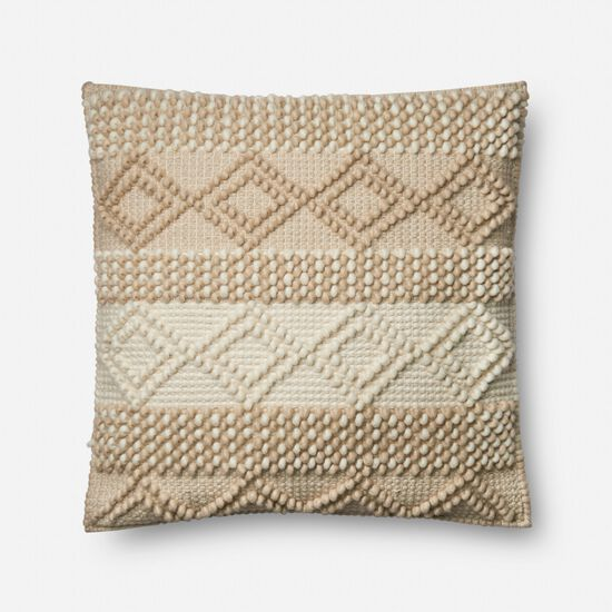 """22""""x22"""" Cover w/Poly Pillow in Beige/Ivory"""