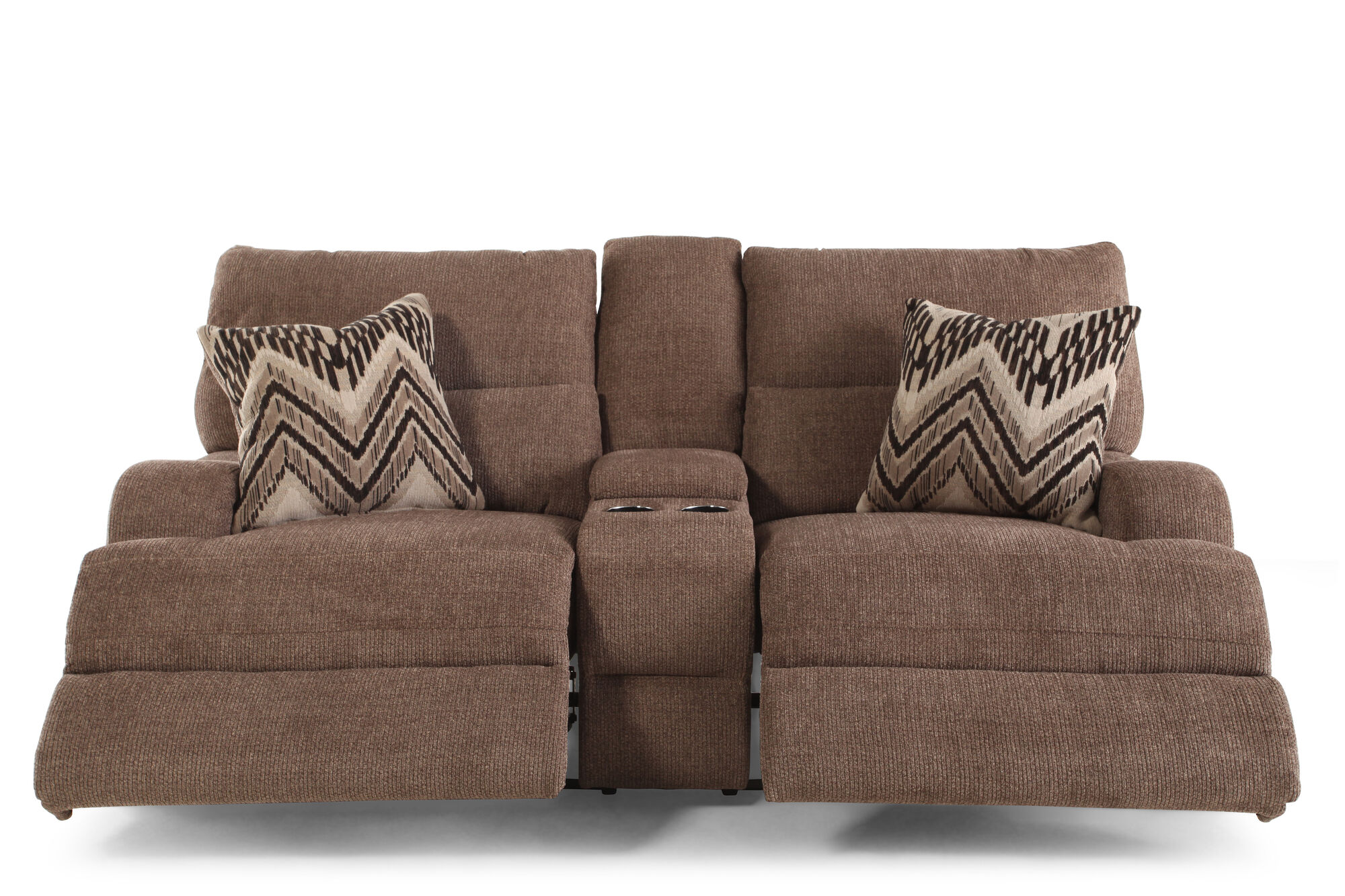 Reclining Traditional 83 Console Loveseat In Medium Brown Mathis