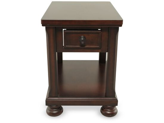 Rectangular One-Drawer Traditional End Table in Brown Cherry