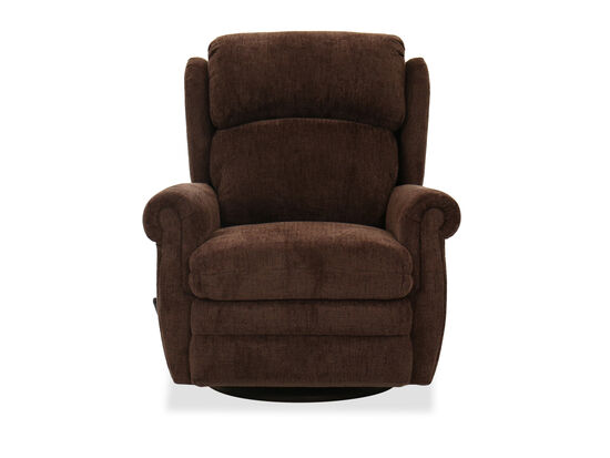 Contemporary Swivel Recliner in Chocolate