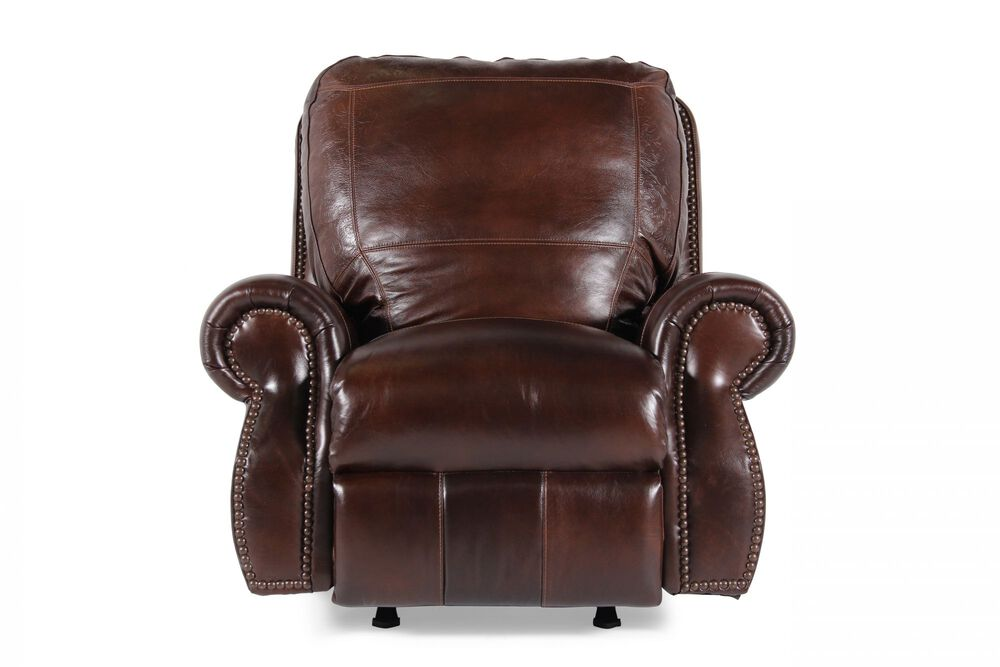 Paisley Imprinted Traditional Rocker Recliner in Dark Oak