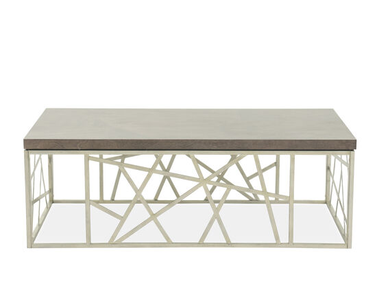 Geometric Base Transitional Cocktail Table in Gray